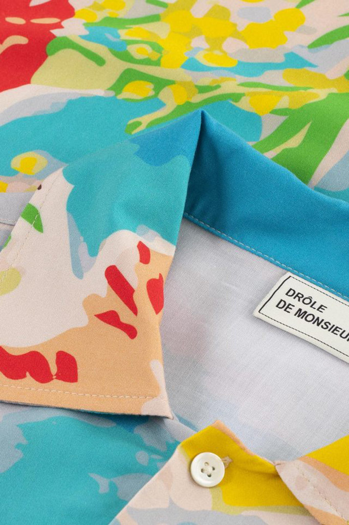 drôle de monsieur riviera flower shirt - blue sky