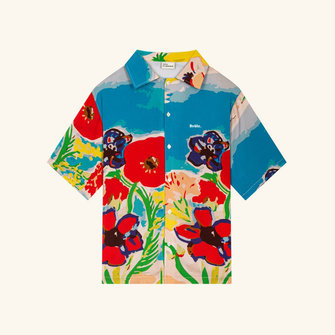 drôle de monsieur riviera flower shirt - blue sky