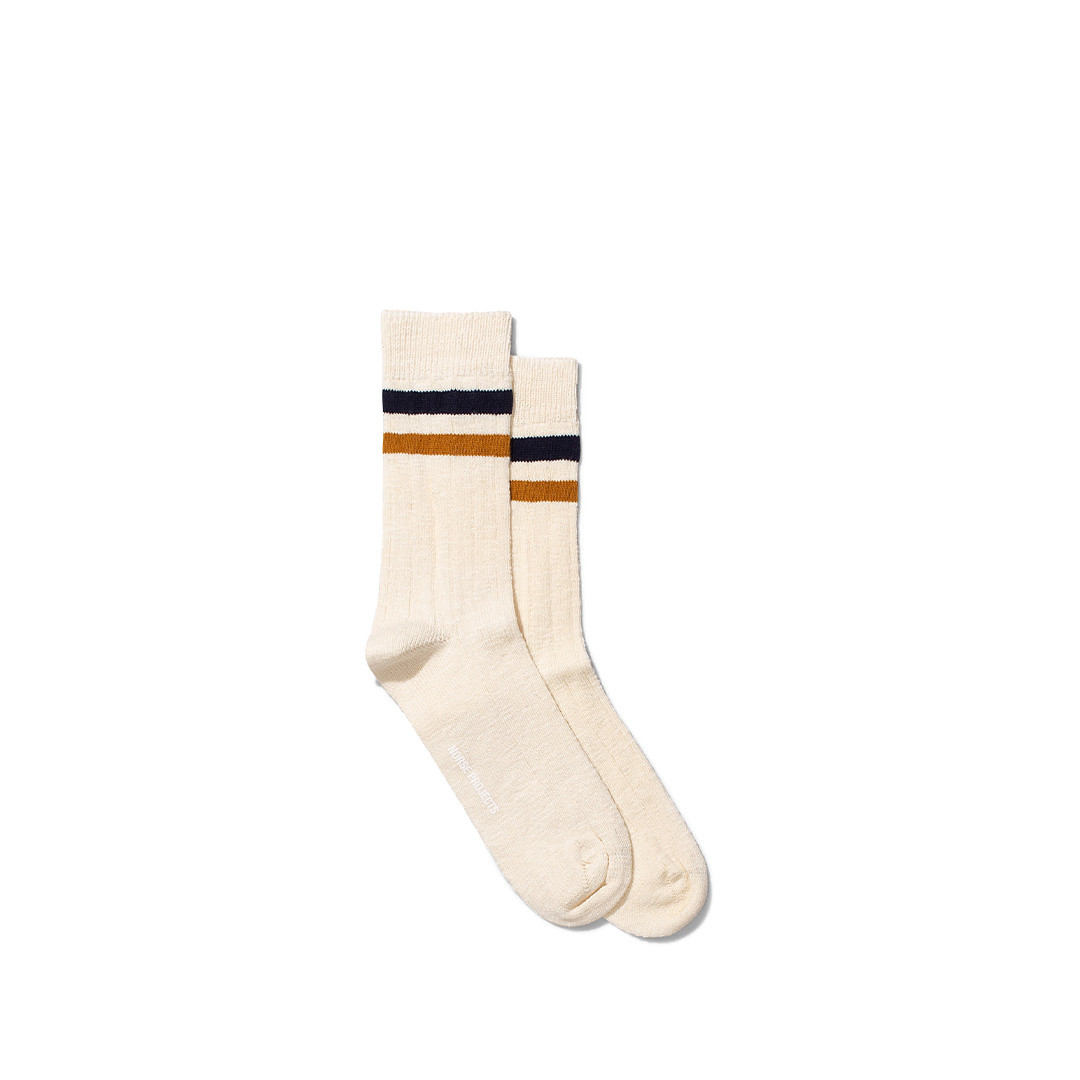 norse projects bjarki slub stripe socks - cadmium orange
