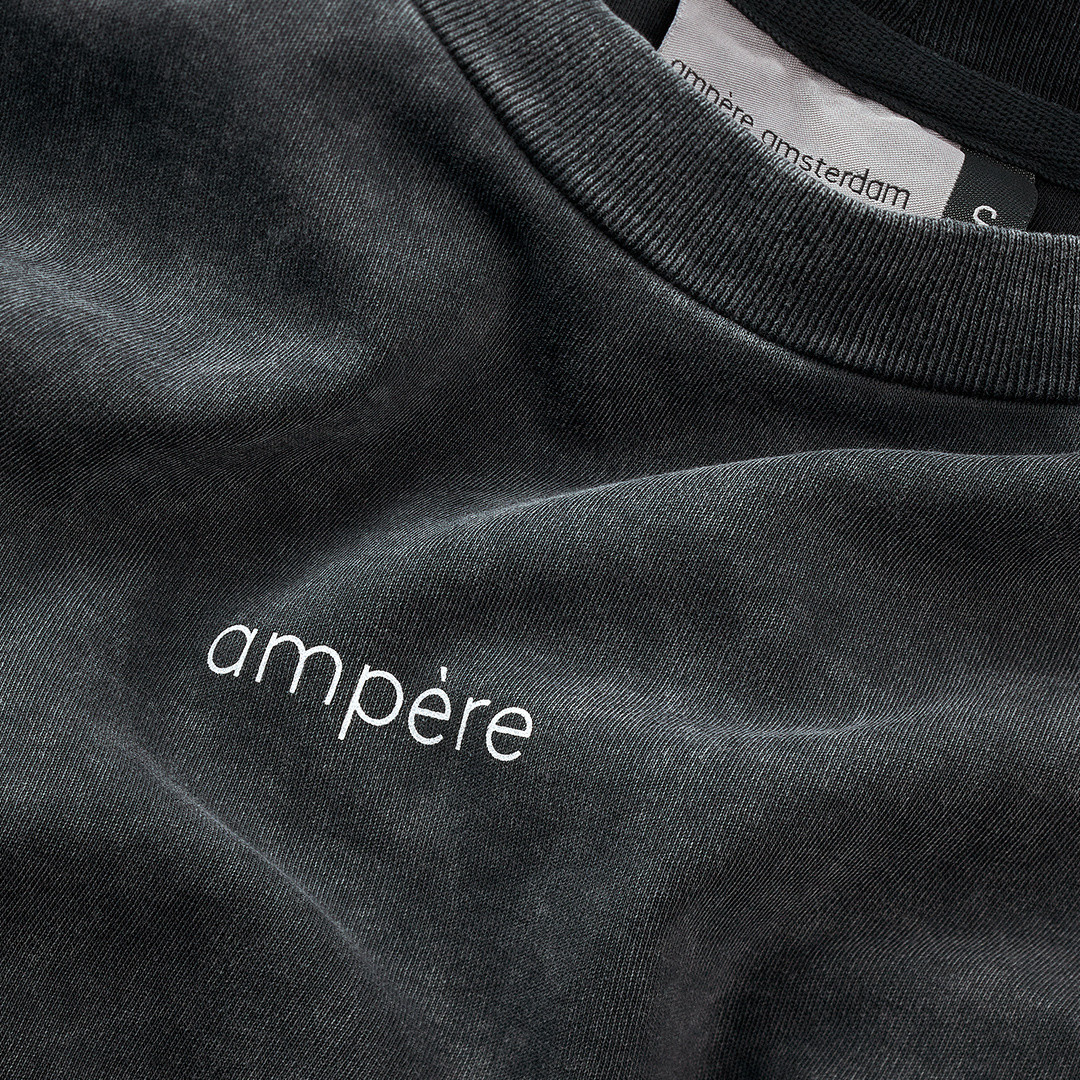 ampère august tee washed - acid black