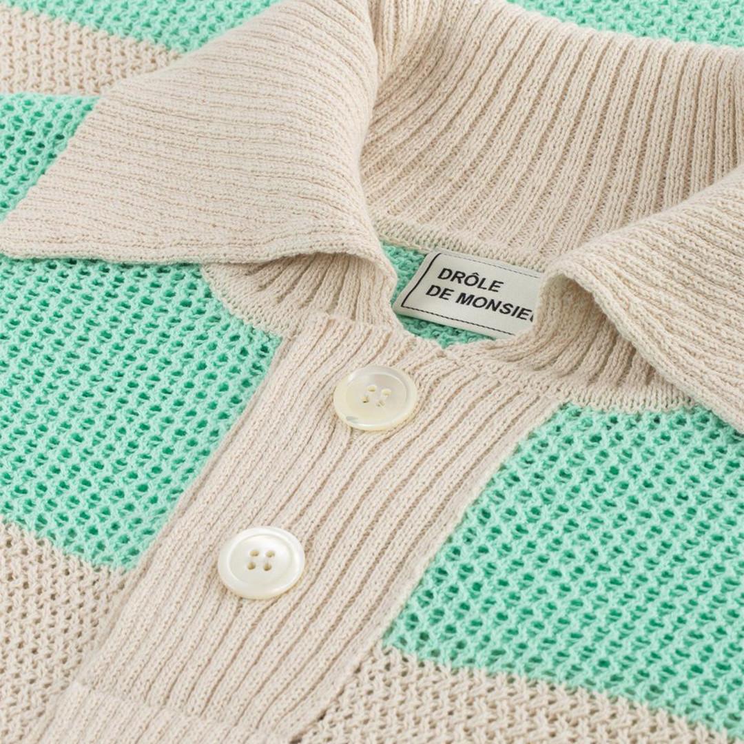 drôle de monsieur knitted polo ss - beige