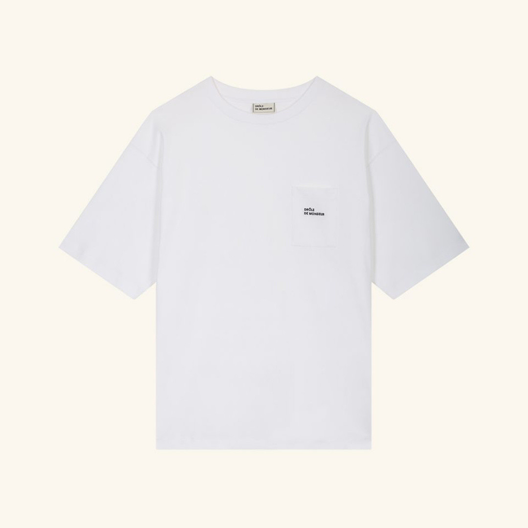 drôle de monsieur  pocket tshirt loose fit - white