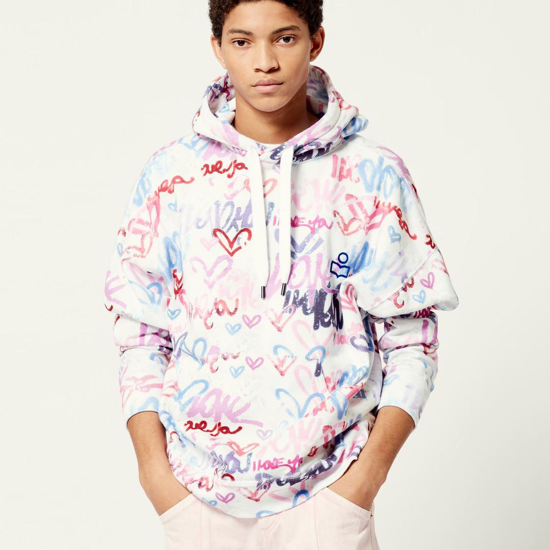 isabel marant viley graffity hoodie - multi color
