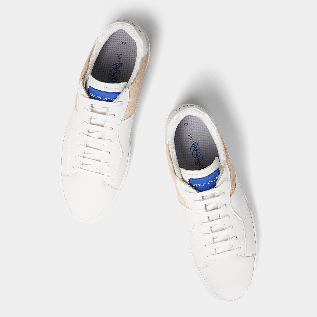 filling pieces low plain court 683 sneaker - organic white