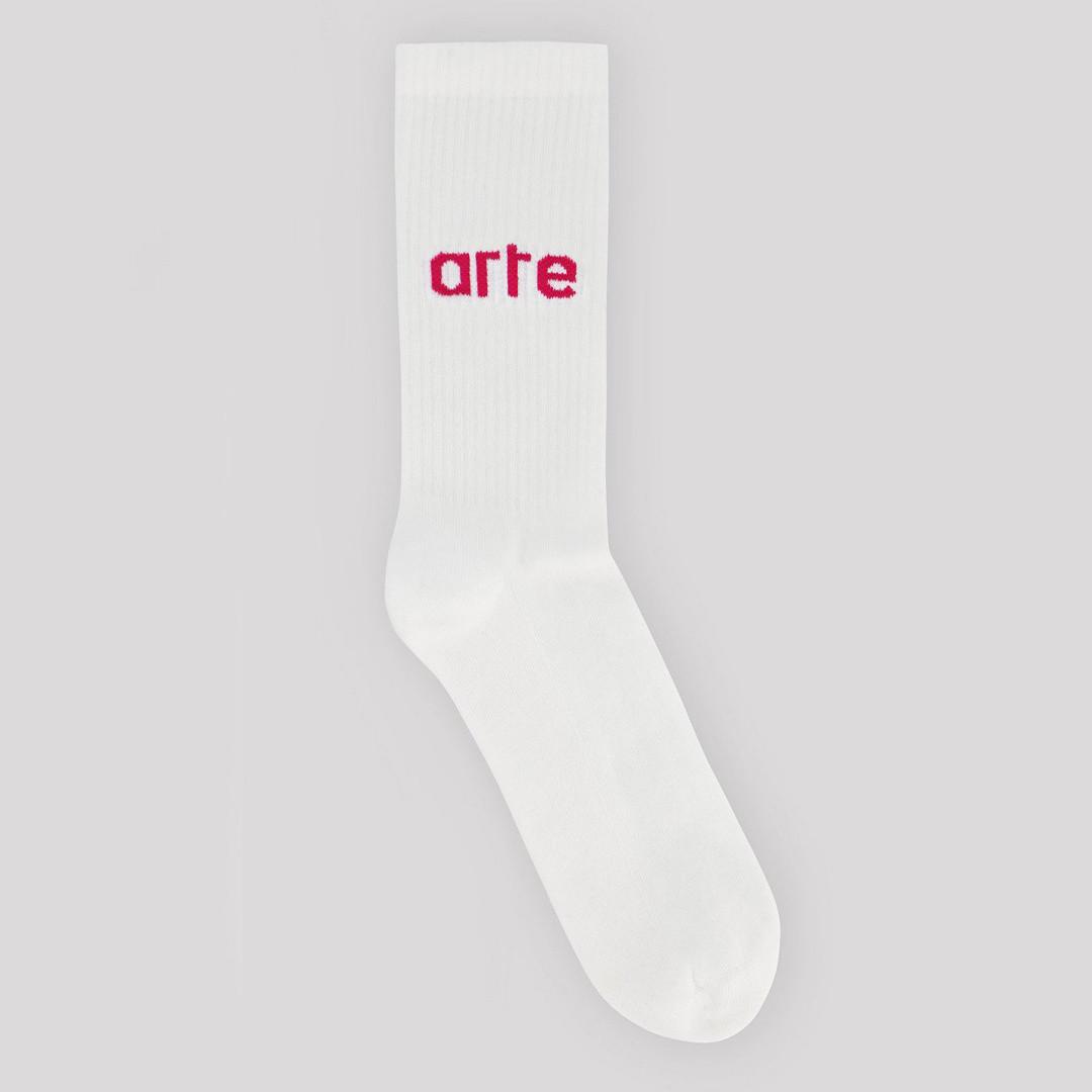 arte logo sock - white pink