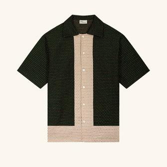 drôle de monsieur linen yoked shirt - green