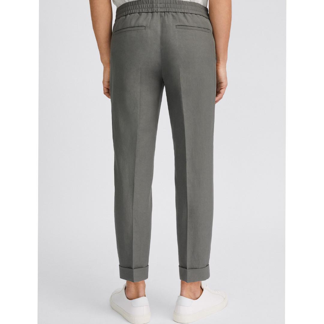 filippa k terry cropped linen slacks - green grey