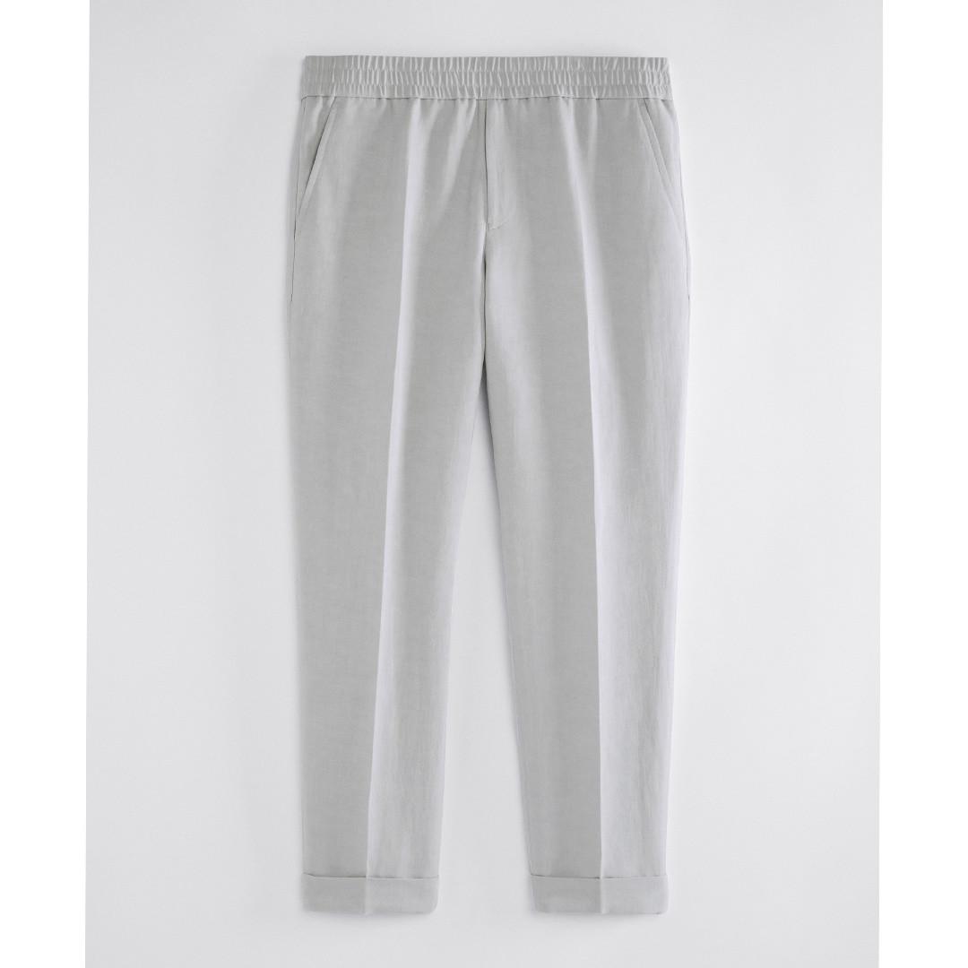 filippa k terry cropped linen slacks - sterling grey