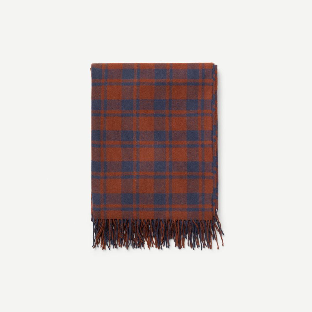 samsoe samsoe nordisk jackie blanket - mahogany check