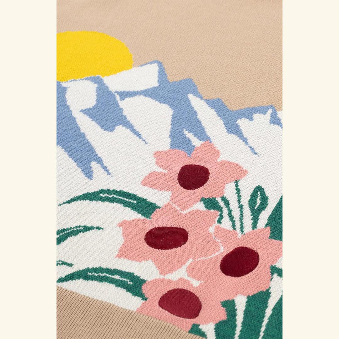 drôle de monsieur la maille fleurs de montagne - beige
