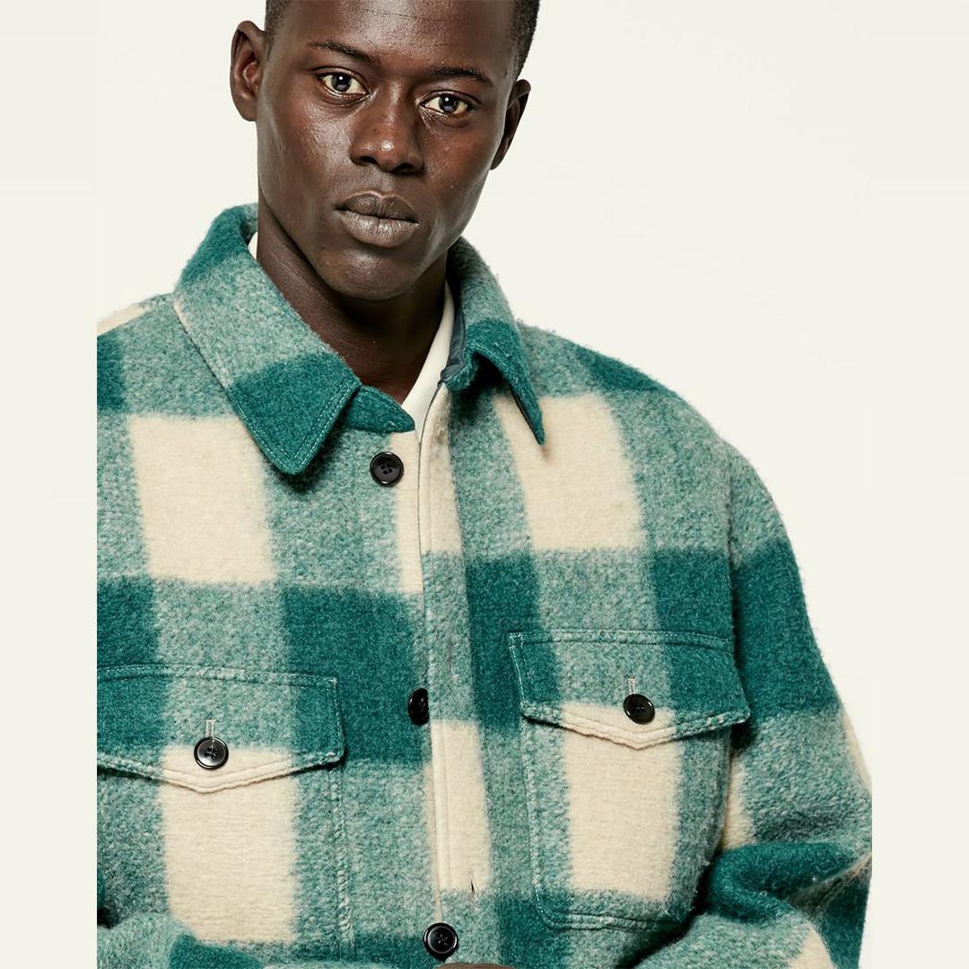 isabel marant kervon wool overshirt - green