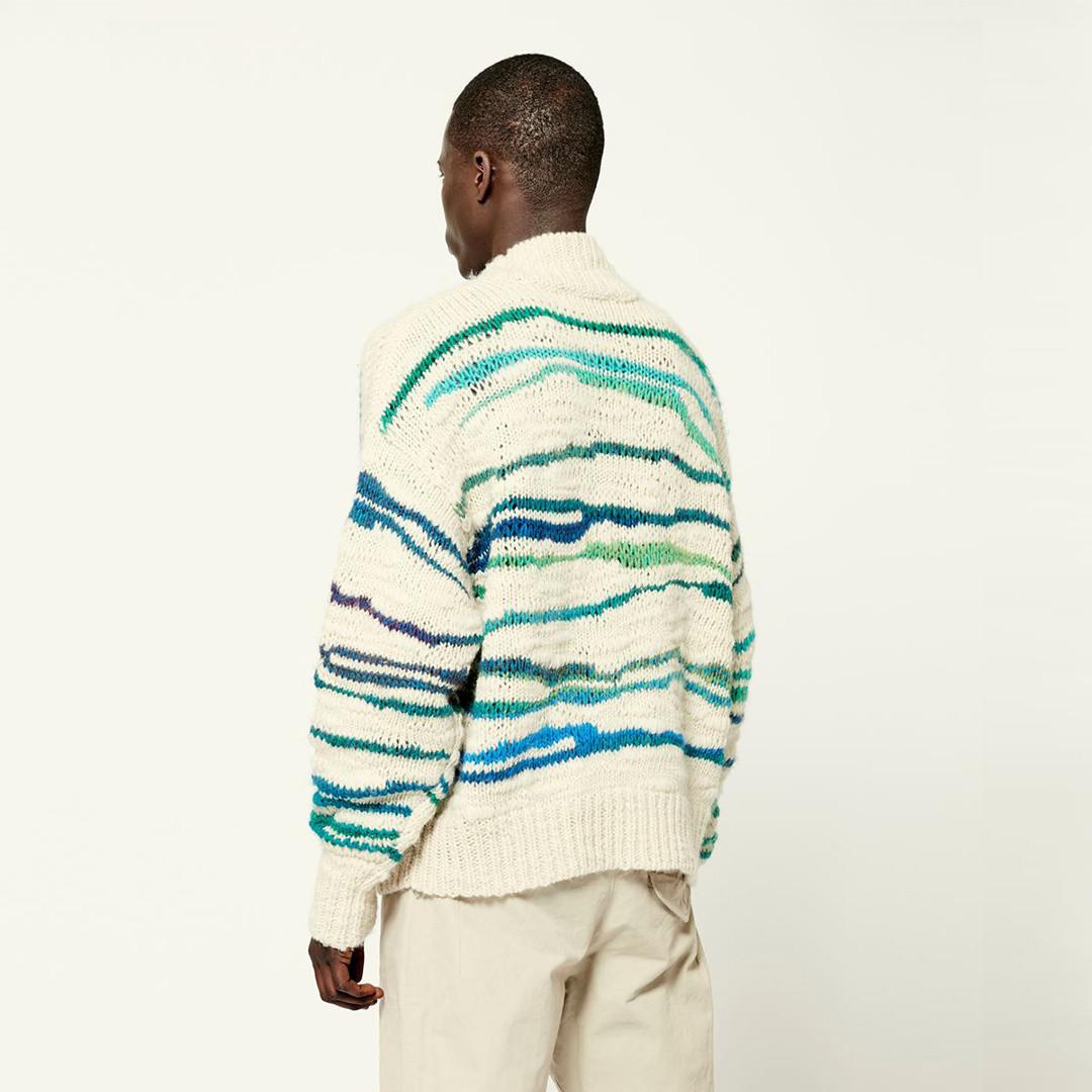 isabel marant seth stripe knit - green ecru