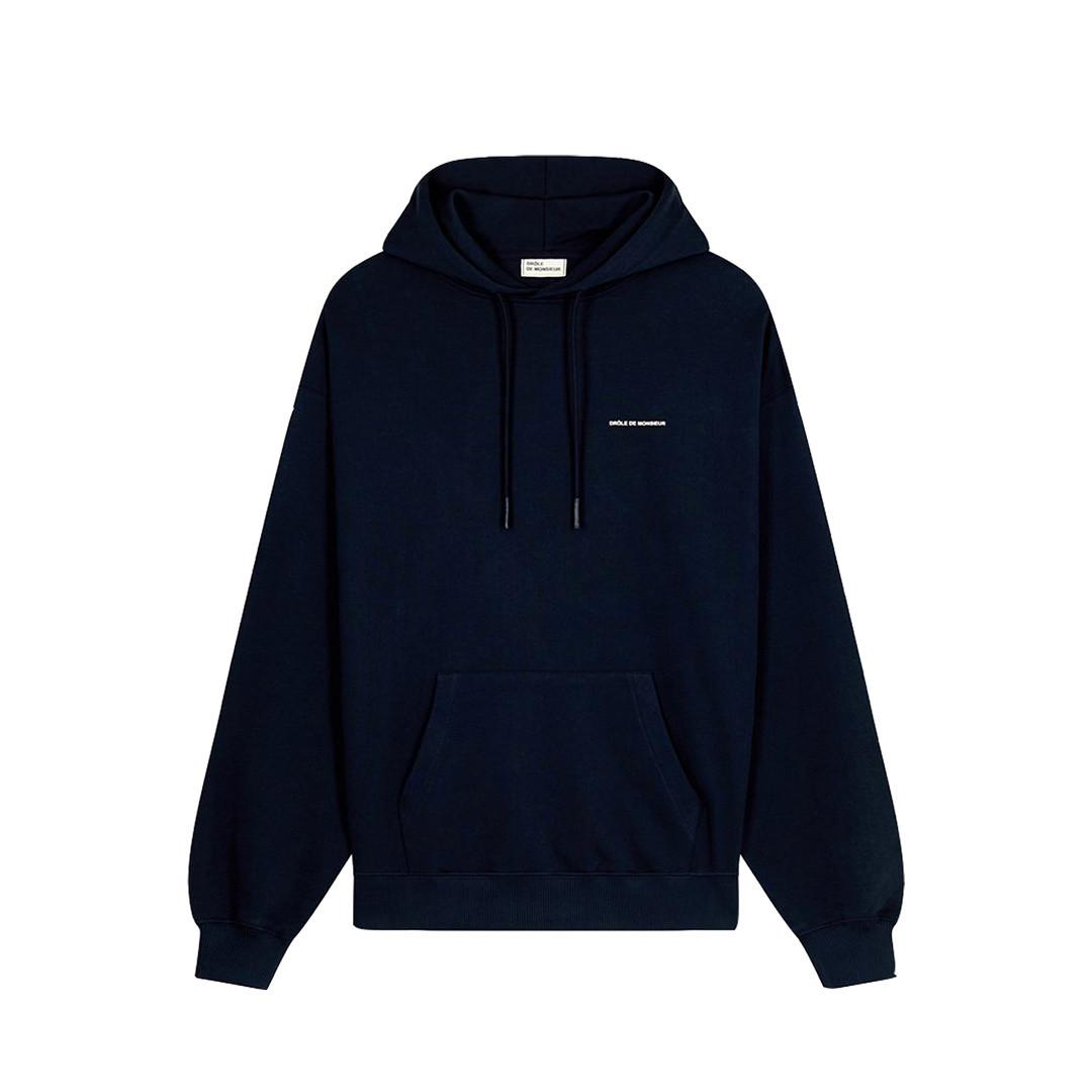 drôle de monsieur le hoodie slogan - navy