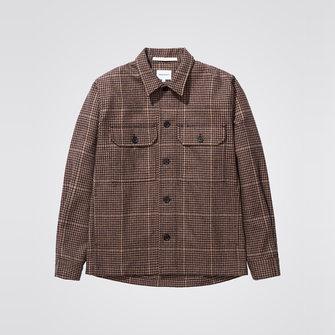 kyle wool overshirt - utility khaki check