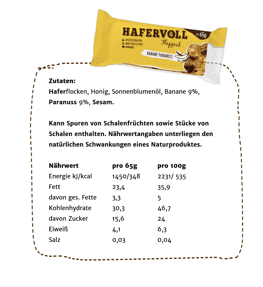 Hafervoll 6er Box Banane Paranuss Flapjack Hafervoll