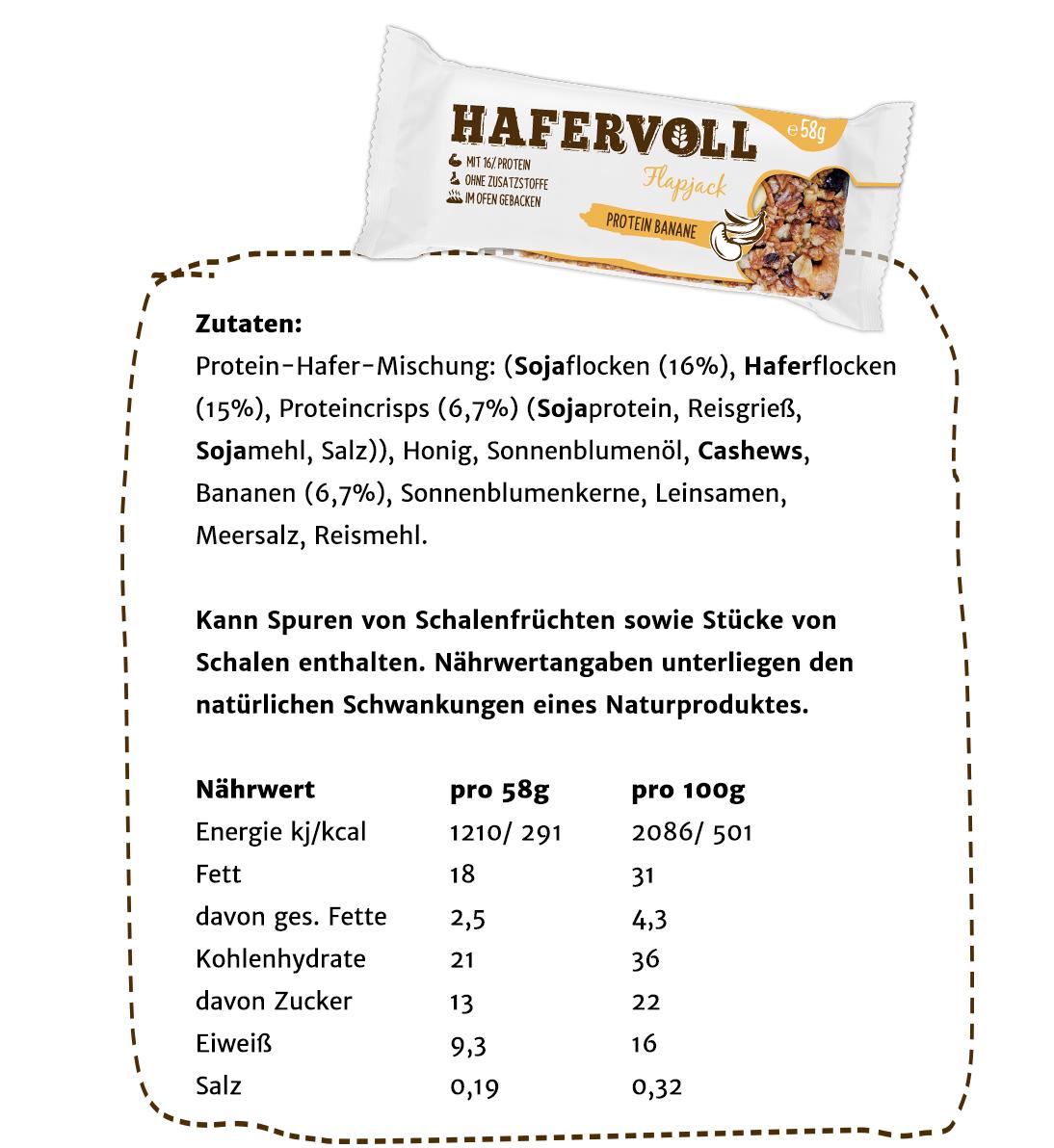 Hafervoll 6er Box Protein Banane Flapjack Hafervoll