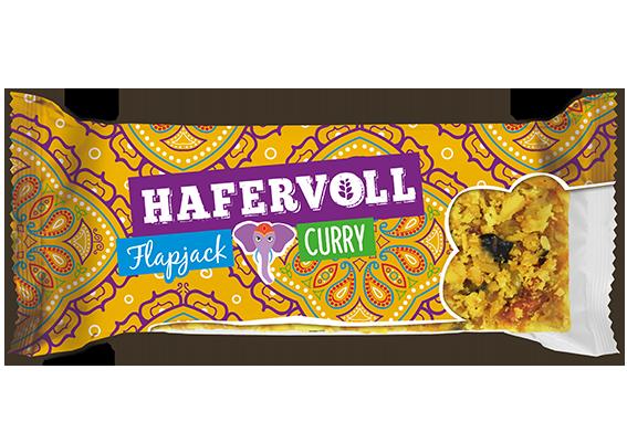 Neue Sorte: der herzhafte Curry Flapjack von HAFERVOLL.
