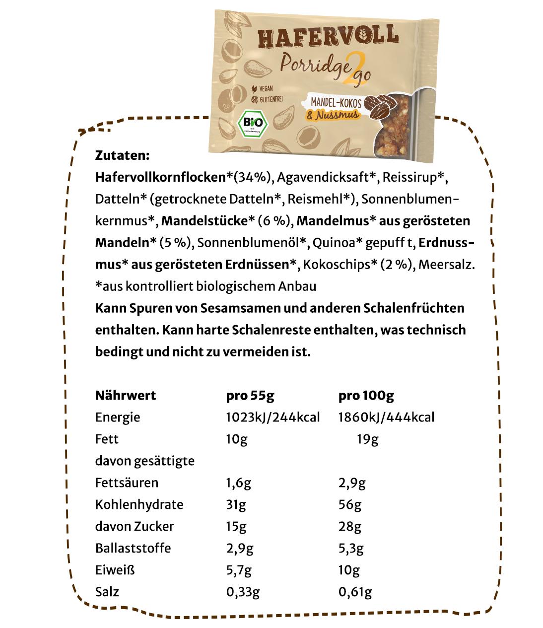 Nährwerte & Zutaten Minis Kakao Haselnuss