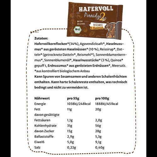 Porridge2go Haselnuss - 13 Stück