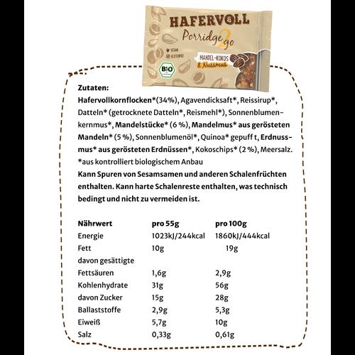 Porridge2go Mandel Kokos - 13 Stück