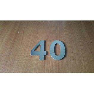 DBT Huisnummer 4 metaal, gepoliert