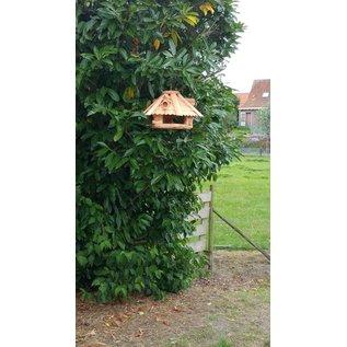 Vogel voederhuis blokhut 6-kantig - naturel bruin