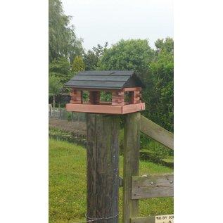 Vogel voederhuis blokhut roodbruin/antraciet