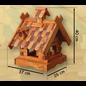 Vogel voederhuis staand met houten dakpannen, groot