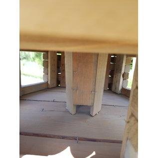 Vogel voederhuis GROOT blokhut 6-kantig -grijs-wit dak