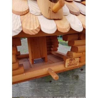 Vogel voederhuis blokhut vierkant bol dak wit/bruin dak