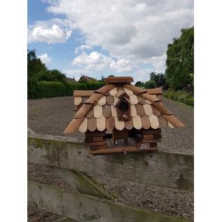 Vogel voederhuis blokhut vierkant bol dak wit/donkerbruin