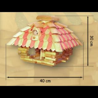 Vogel voederhuis blokhut vierkant bol dak zwart/wit fantasie