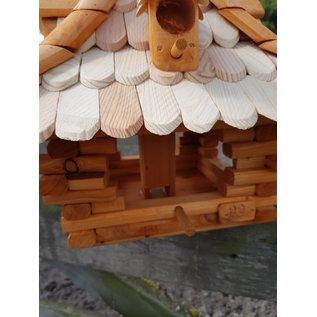 Vogel voederhuis Pagode vierkant- wit / bruin