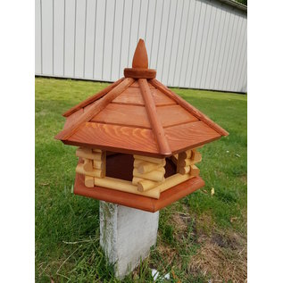 Vogel voederhuis 6-kantig loghuis roodbruin dak