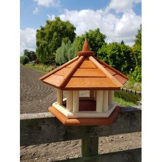 Vogel voederhuis pilaren Groot roodbruin dak