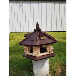 Vogel voederhuis met dakkapel 6-kantig loghuis d.bruin dak