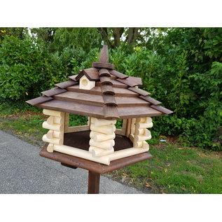 Vogel voederhuis met dakkapel 6-kantig Mega loghuis d.bruin dak