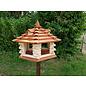 Vogel voederhuis met dakkapel 6-kantig Mega loghuis roodbruin dak