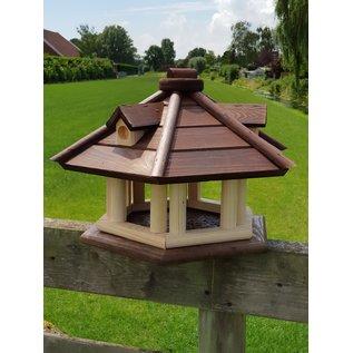 Vogel voederhuis pilaren en dakkapel donkerbruin dak