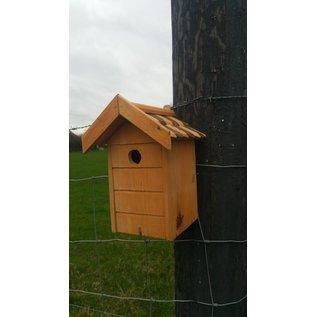 Vogel nestkast naturel, bruin/donkerbruine dakpannen