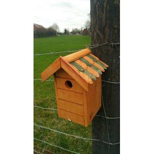 Vogel nestkast naturel, bruin/groene dakpannen