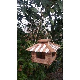Vogel voederhuis blokhut d.bruin-wit