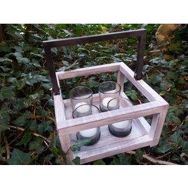 Windlicht bakje hout/4x glas