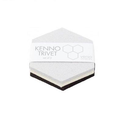Verso Design Onderzetters set Kenno grijs wit lichtgrijs 11,5x11,5cm