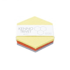 Verso Design Trivet set Kenno geel grijs orange 11,5x11,5cm