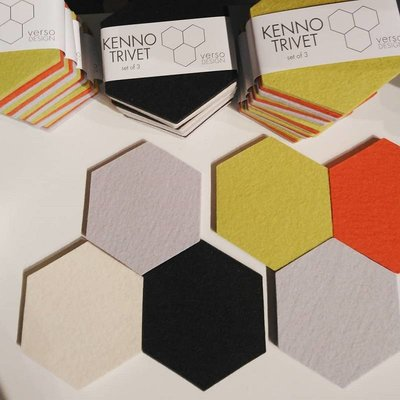 Verso Design Trivet set Kenno in geel grijs orange - made in Finland