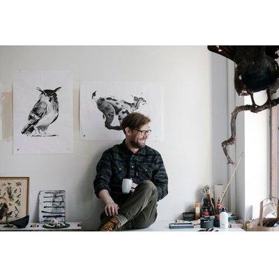 Teemu Järvi  Poster Eagle Owl – gedrukte inkt illustratie 30x40cm