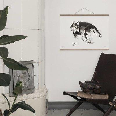 Teemu Järvi  Fins design poster Wolf - inkt illustratie H50xB70cm