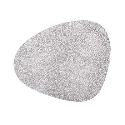 Lind DNA  Leren placemat Curve L – Hippo Wit/Grijs - duurzaam