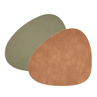 Lind DNA  Placemat Curve double Nupo Army Green- Bruin